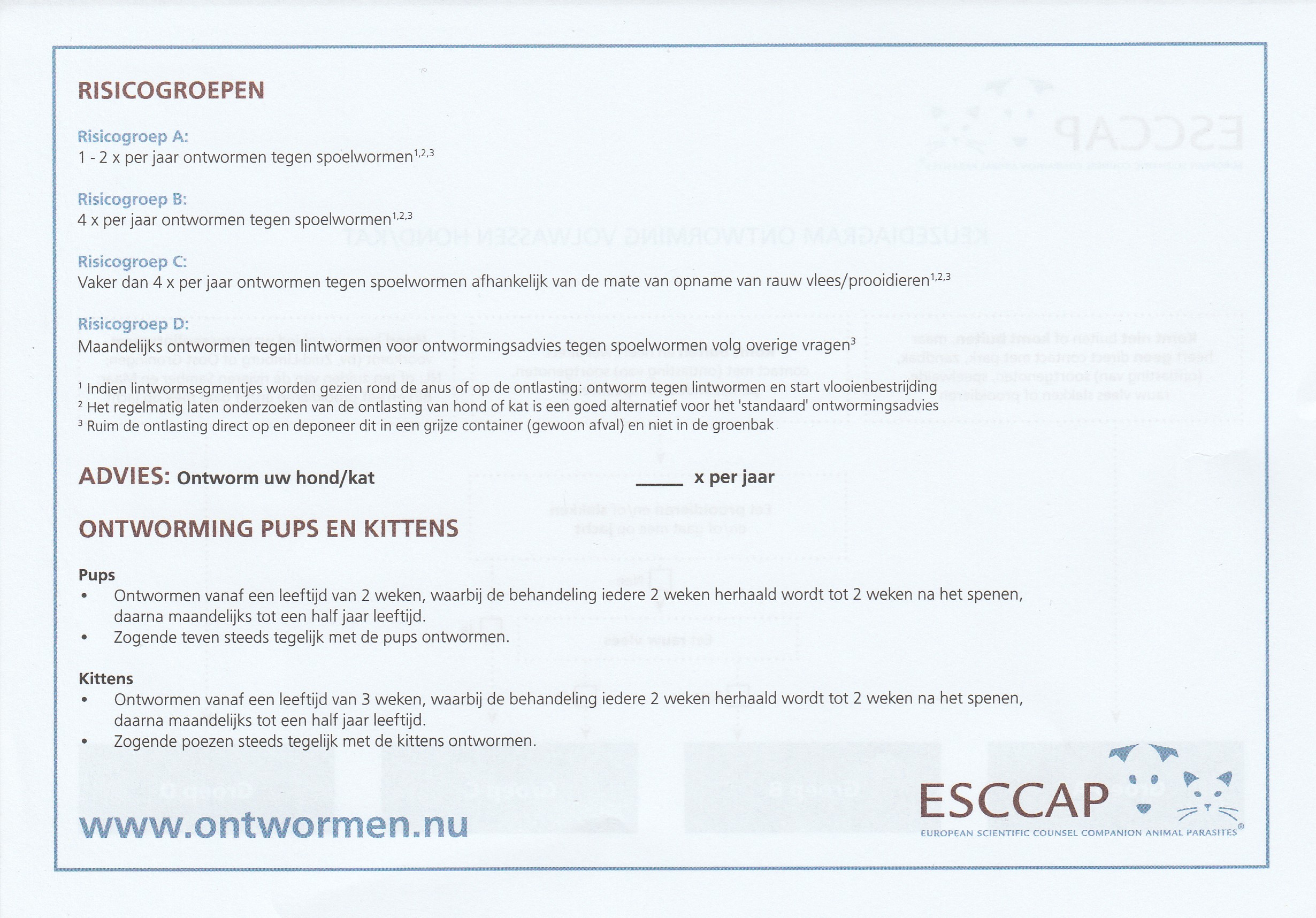 ESCCAP ontwormingsschema 2